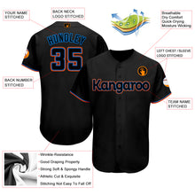 Load image into Gallery viewer, Custom Black Powder Blue-Orange Baseball Jersey