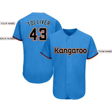 Load image into Gallery viewer, Custom Powder Blue Black-Orange Baseball Jersey