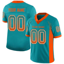 Load image into Gallery viewer, Custom Aqua Orange-White Mesh Drift Fashion Football Jersey