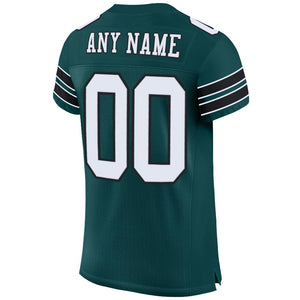 Custom Midnight Green White-Black Mesh Authentic Football Jersey
