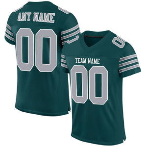 Custom Midnight Green Gray-White Mesh Authentic Football Jersey