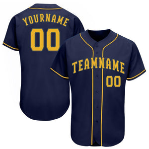 Custom Navy Gold Baseball Jersey