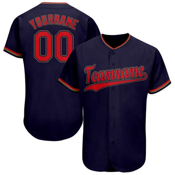Custom Navy Red-Old Gold Baseball Jersey