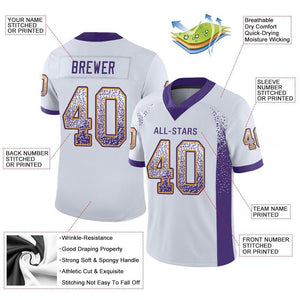 Custom White Purple-Gold Mesh Drift Fashion Football Jersey