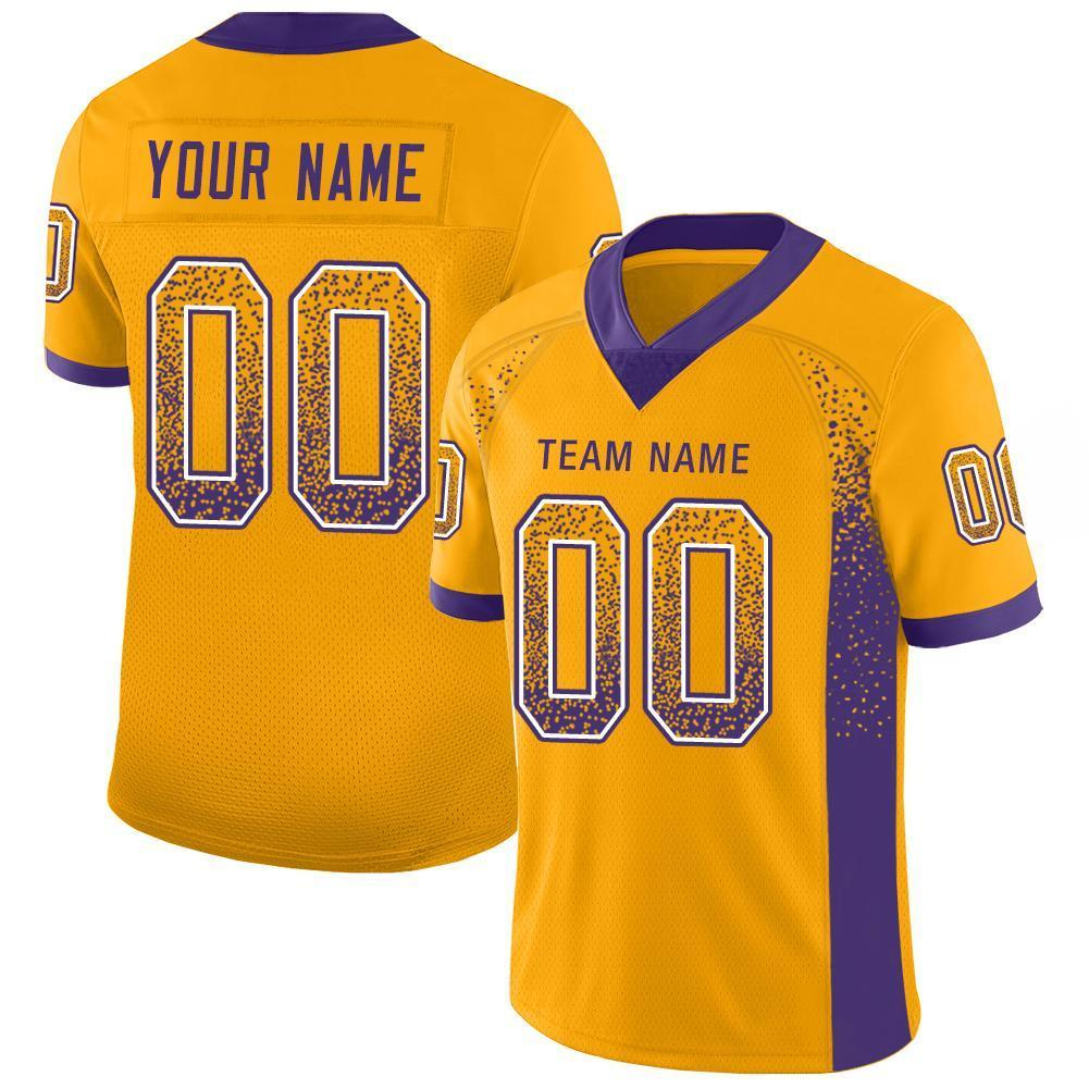 Custom Gold Purple-White Mesh Drift Fashion Football Jersey