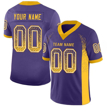 Custom Purple Gold-White Mesh Drift Fashion Football Jersey