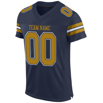 Custom Navy Old Gold-White Mesh Authentic Football Jersey