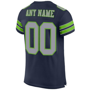 Custom Navy Light Gray-Neon Green Mesh Authentic Football Jersey