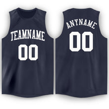 Load image into Gallery viewer, Custom Navy White Round Neck Basketball Jersey - Fcustom