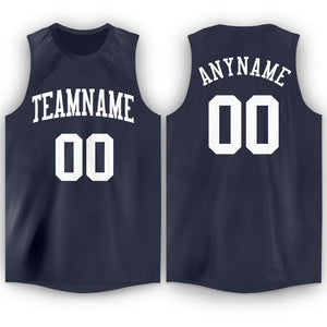 Custom Navy White Round Neck Basketball Jersey - Fcustom