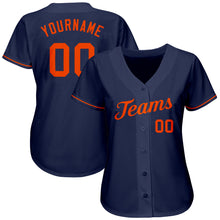 Load image into Gallery viewer, Custom Navy Orange Authentic Baseball Jersey