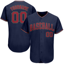 Load image into Gallery viewer, Custom Navy Red-Old Gold Authentic Baseball Jersey