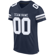Load image into Gallery viewer, Custom Navy White-Light Gray Mesh Authentic Football Jersey