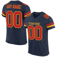Load image into Gallery viewer, Custom Navy Scarlet-Gold Mesh Authentic Football Jersey