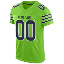 Load image into Gallery viewer, Custom Neon Green Navy-White Mesh Authentic Football Jersey