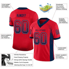 Load image into Gallery viewer, Custom Scarlet Navy-Gray Mesh Drift Fashion Football Jersey