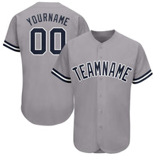 Load image into Gallery viewer, Custom Gray Navy-White Baseball Jersey
