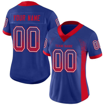 Custom Royal Scarlet-White Mesh Drift Fashion Football Jersey