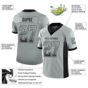 Custom Silver Black-White Mesh Drift Fashion Football Jersey