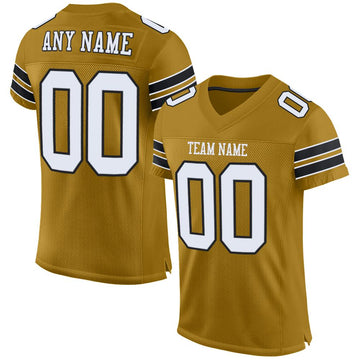 Custom Old Gold White-Black Mesh Authentic Football Jersey - Fcustom