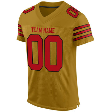 Custom Old Gold Red-Black Mesh Authentic Football Jersey - Fcustom