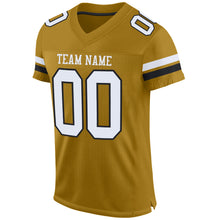 Load image into Gallery viewer, Custom Old Gold White-Black Mesh Authentic Football Jersey