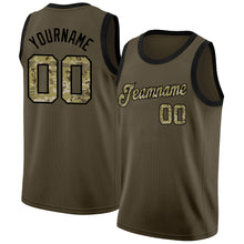 Load image into Gallery viewer, Custom Olive Camo-Black Round Neck Rib-Knit Salute To Service Basketball Jersey