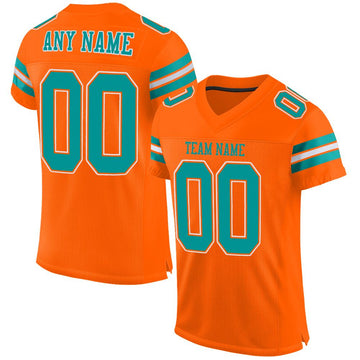 Custom Orange Aqua-White Mesh Authentic Football Jersey - Fcustom
