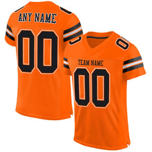 Load image into Gallery viewer, Custom Orange Black-White Mesh Authentic Football Jersey
