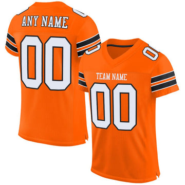 Custom Orange White-Black Mesh Authentic Football Jersey - Fcustom