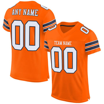 Custom Orange White-Navy Mesh Authentic Football Jersey - Fcustom