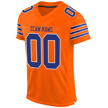 Custom Orange Royal-White Mesh Authentic Football Jersey - Fcustom