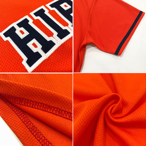 Custom Orange Black-White Authentic Throwback Rib-Knit Baseball Jersey Shirt