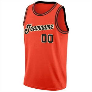 Custom Orange Black-Cream Round Neck Rib-Knit Basketball Jersey
