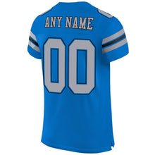 Load image into Gallery viewer, Custom Panther Blue Light Gray-Black Mesh Authentic Football Jersey
