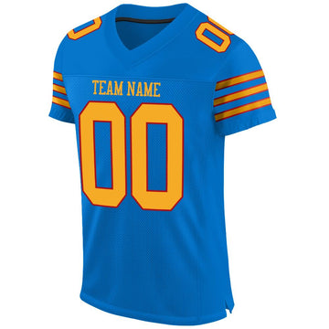 Custom Panther Blue Gold-Red Mesh Authentic Football Jersey