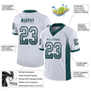 Custom White Midnight Green-Black Mesh Drift Fashion Football Jersey