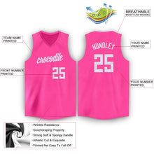 Load image into Gallery viewer, Custom Pink White V-Neck Basketball Jersey