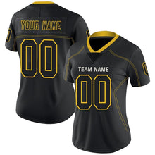 Load image into Gallery viewer, Custom Lights Out Black Gold-White Football Jersey