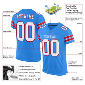 Custom Powder Blue White-Red Mesh Authentic Football Jersey