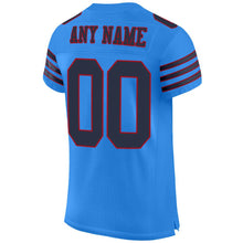 Load image into Gallery viewer, Custom Powder Blue Navy-Red Mesh Authentic Football Jersey