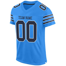 Load image into Gallery viewer, Custom Powder Blue Navy-White Mesh Authentic Football Jersey