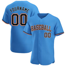 Load image into Gallery viewer, Custom Powder Blue Black-Orange Authentic Baseball Jersey