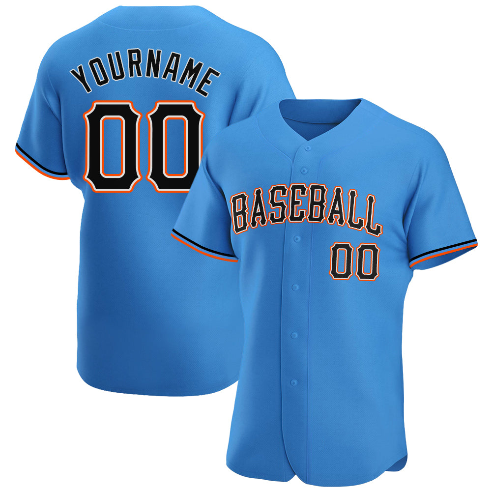 Custom Powder Blue Black-Orange Authentic Baseball Jersey