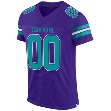 Custom Purple Aqua-White Mesh Authentic Football Jersey
