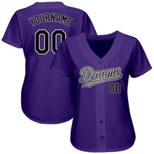 Load image into Gallery viewer, Custom Purple Black-Gray Authentic Baseball Jersey