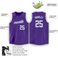 Load image into Gallery viewer, Custom Purple White Round Neck Basketball Jersey