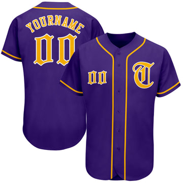 Custom Purple Gold-White Authentic Baseball Jersey