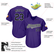Load image into Gallery viewer, Custom Purple Black-Gray Authentic Throwback Rib-Knit Baseball Jersey Shirt