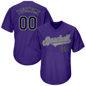 Custom Purple Black-Gray Authentic Throwback Rib-Knit Baseball Jersey Shirt